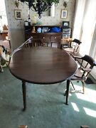 Vintage Ethan Allen Dining Set Table, 6 Chairs, Dry Sink And Hutch. Great Shape