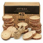 Arteza Wood Slices 45 Pieces With Bark Natural Unfinished Pine 2.4-2.8 Diam...