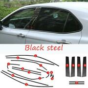 Black Steel Car Window Strip Cover Trim 18x Kit Fit For Toyota Camry 2018-2021