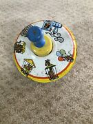 Vintage Ohio Art Metal Tin Spinning Top Animals Circus Train Wooden Handle Toy