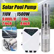 1500w Solar Powered Water Pump 9000l/h Farm Ranch Submersible Bore Deep Well Usa