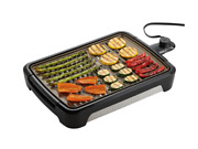New Black Smokeless Grill Open Grate 1350w Nonstick Indoor Barbecue Grill Plate
