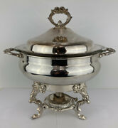 Vintage Eales 1779 Silverplate Chafing Dish Warmer Footed Serving Dish Tray