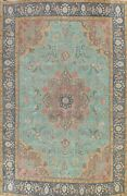 Antique Floral Tebriz Evenly Low Pile Hand-knotted Area Rug Wool Oriental 10x13