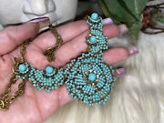 Miriam Haskell Amazing Robins Blue Floral Design Art Glass Necklace Rare16