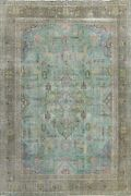 Antique Geometric Tebriz Hand-knotted Area Rug Evenly Low Pile Wool 9x12 Carpet