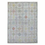 9and039x12and0394 Hand Knotted Soft Vibrant Wool Anatolian Design Light Gray Rug R67487