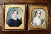 Edward Dodge Antique Portrait Miniatures Virginia Mother And Daughter Holding Doll