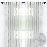 Chanasya 2-panel Moroccan Embroidered Design Textured Sheer Curtain Panels - For