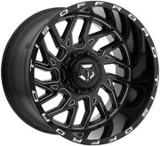 4- 20x12 Black Milled Tis 544bm 6x135 And 6x5.5 -44 Wheels Trail Blade Mt 35 Tires