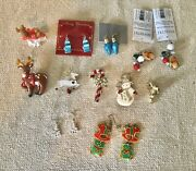 Lot Of 11 Vintage To Modern Pins/earrings Jewelry Mix Brooches Christmas Enamel