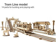 Tram Car Line Model 3d Wooden Puzzle Diy Toy Assembly Gears Kit Mechanical Town