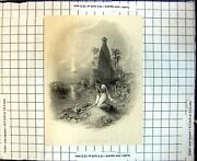 Original Old Antique Print Hindoo Mother Washing Baby River Palm Trees 1844