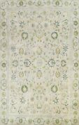 Antique Tebriz Floral Hand-knotted Ivory Area Rug Wool Oriental 8and039x12and039 Carpet