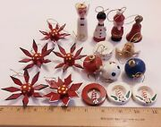 Vintage Sweden 17 Folk Hand Painted Wooden Christmas Ornaments Star Angel Ball