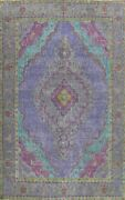 Antique Geometric Tebriz Overdyed Handmade Area Rug Dining Room Oriental 10and039x13and039