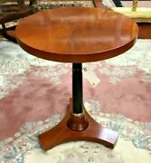 Italian Maple Round Pedestal Side Table With Fluted Base Inlayed Top