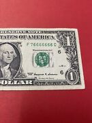 Fancy Serial Number 1 1999 F 7 6666666 C 7 In A Row .