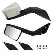 Chrome Hood Mirrors Pair For Volvo Vnl 2000-2015 With Nuts Mounting Plates