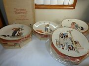 1977 Gorham Collector Plates Norman Rockwell 4 Four Seasons Mint In Box