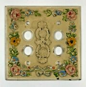 Vtg Painted Floral Push Button Light Switch Plate Cover Heavy Cast Iron Metal