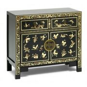 Made To Order Golden Dragon Oriental Painted Solid Wood Black And Gold Sideboard