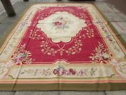 Old Hand Made French Design Wool Red Green Original Large Aubusson 412x305cm