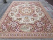 Old Hand Made French Design 10 X 8 Wool Brown Large Original Aubusson 317x246cm