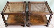 Vintage Drexel Cane End Tables Heritage Set Of Two Cane Top Finials Wood