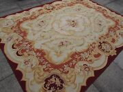 Old Hand Made French Design Wool 10x8 Maroon Green Original Aubusson 313x238cm