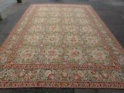 Vintage Hand Made French Design Wool Green Red Large Original Aubusson 375x270cm
