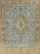 Vintage Tebriz Overdyed Hand-knotted Area Rug Evenly Low Pile Wool Carpet 10x13