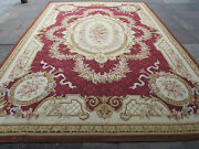 Old Hand Made French Design Wool Burgundy Red Original Large Aubusson 431x301cm