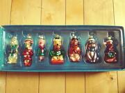 Disney Store Set Of 7 Winnie The Pooh Family Blown Glass Christmas Ornaments