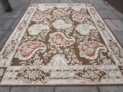 Old Hand Made French Design Wool Brown Original Aubusson 313x242cm 10x8