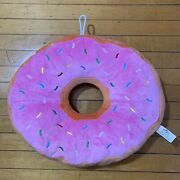 Universal Studios Homer Simpson's Large Plush Frosted Pink Doughnut Pillow