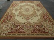 Vintage Hand Made French Design Wool Brown Large Original Aubusson 370x265cm