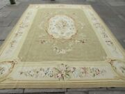 Vintage Hand Made French Design Wool Green Large Original Aubusson 364x268cm
