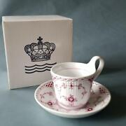 Royal Copenhagen Half Lace High Handle Cup And Saucer Burgundy From Japan