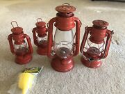 Vintage Red Oil Lamp Set Of 4 And Refill Funnel Lanterns Small And Large Vtg
