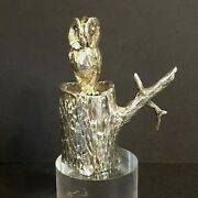 1974 Sterling Silver Owl Miniature Figurine On Trunk Of Tree Smd Casting Vintage