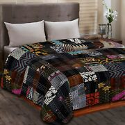 Vintage Handmade Christmas Theme Patchwork Applique Double Quilt Bedding Throw