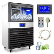 150 Lbs/24h Commercial Stainless Steel Ice Maker Countertop Lcd Display W/scoop