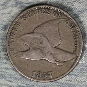 Rare Fs-402 S-9 1857 Flying Eagle Cent Seated Liberty Half Obverse Clash