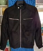 River Island Black Suedette Long Sleeve Perforated Racer Jacket Multiple Sizes
