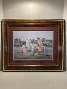Vintage Anne Mount N12 African American Family Picnic Cherry Gold Gilt Frame