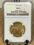 1912 10 Gold Indian Ngc Ms62 Mint State 62