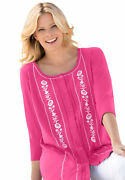 Woman Within Women's Plus Size Embroidered Button-front Tunic