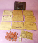 Vintage Ww2 World War Ii War Ration Leather Pouch Books Tokens Stamps Large Lot