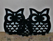 Lot Of 3 Cast Iron Owl Trivets Rubber Feet Black Decorative Collectible